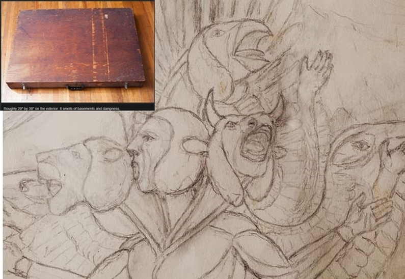 Mysterious Box Contains Detailed Drawings of Winged Aliens; WWII Vet Presumed Owner. 1_5